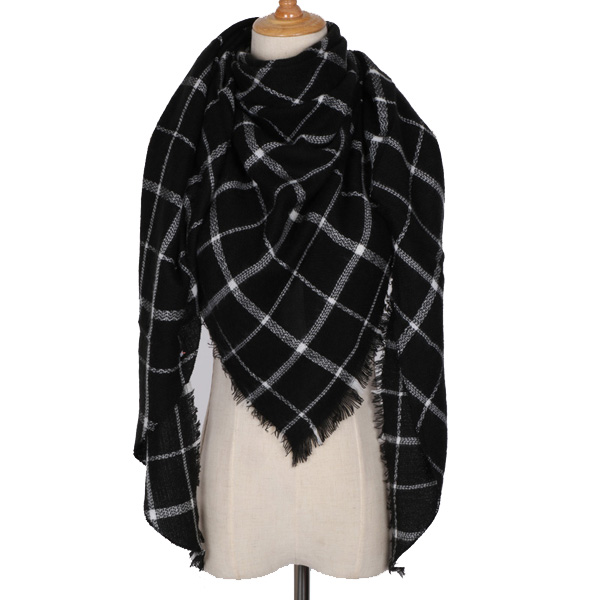 530463b298d6 Black   White Triangle Winter Scarf for Women - Winter Scarves